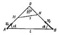 Из двух пунктов А и B, расстояние между которыми l, одновременно начинают двигаться два корабля со скоростями... Решение задачи